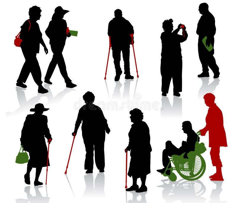 Handicapés âgés et illustration stock