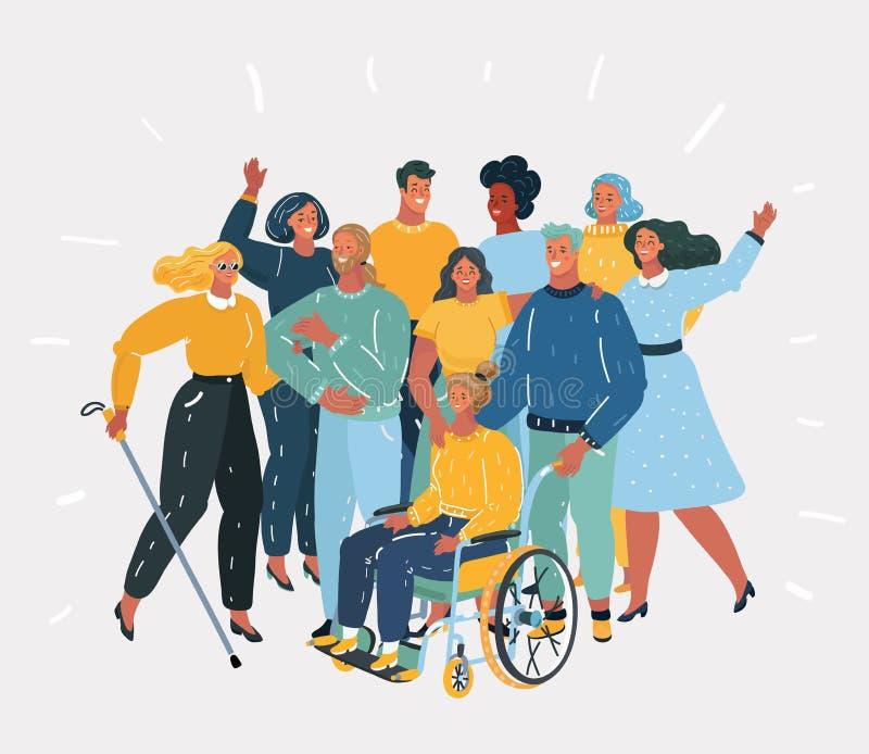 Handicapés et eux amis illustration de vecteur