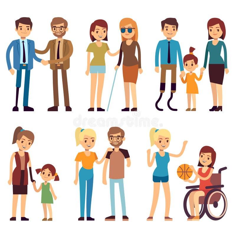 Handicapés heureux dans le sport et les activités sociales Caractères plats de vecteur réglés illustration stock