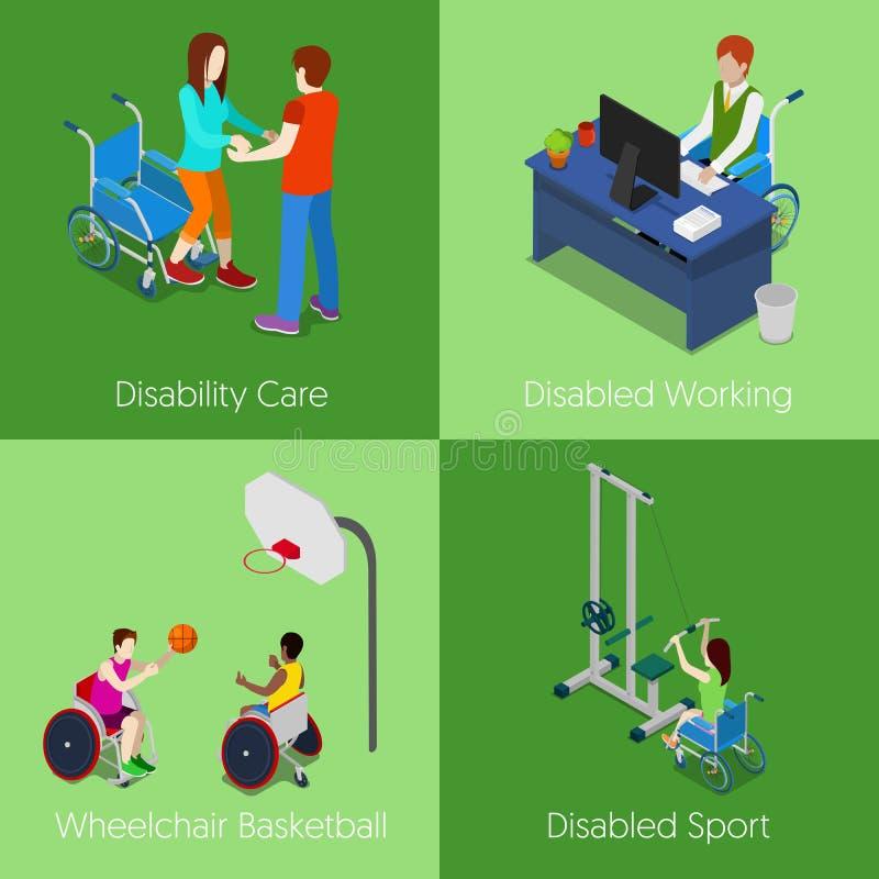Handicapés isométriques Soin d'incapacité, fonctionnement handicapé, basket-ball de fauteuil roulant, sport handicapé illustration stock