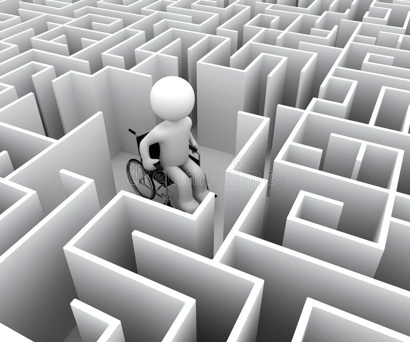 Handicap et labyrinthe illustration libre de droits