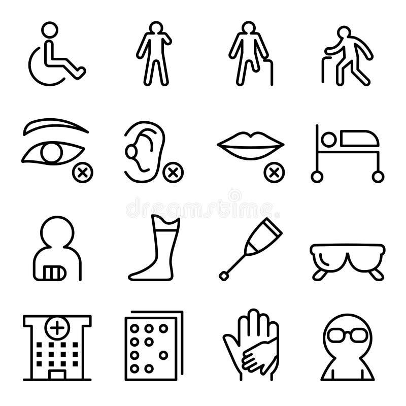Handicap & Gehandicapt die pictogram in dunne lijnstijl wordt geplaatst stock illustratie