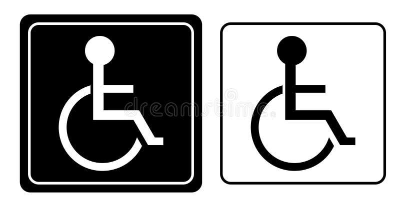 Handicap of het symbool van de rolstoelpersoon vector illustratie