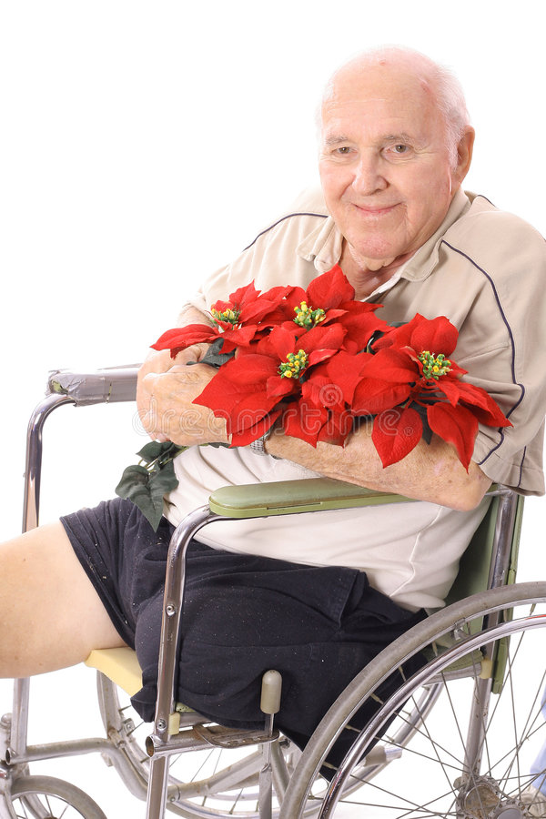 Download Handicap Man In Wheelchair With Flowers Stock Photo - Image: 3716486