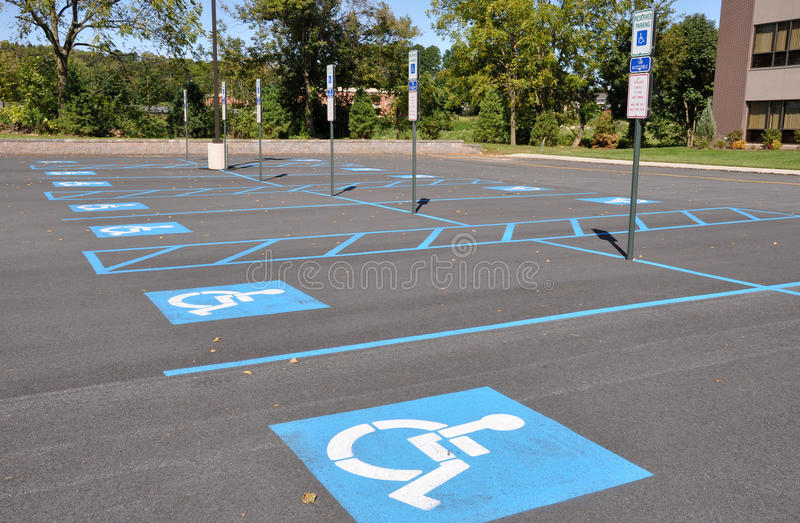 Handicap parking spots royalty free stock photography