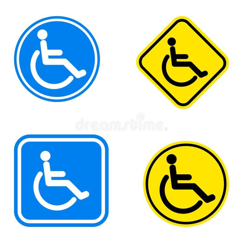 Handicap symbol. Illustration of handicap symbol and warning road sign stock illustration