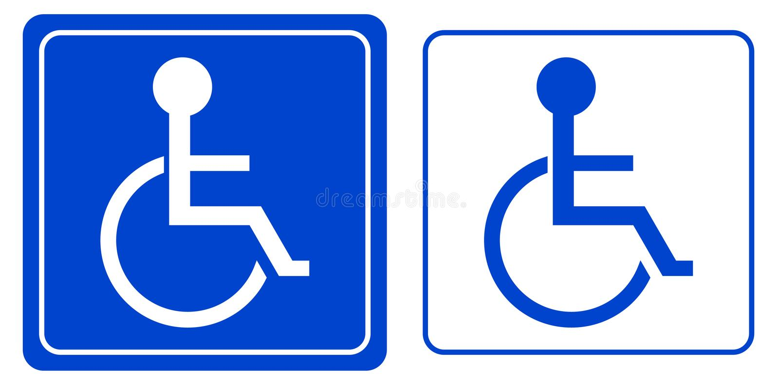 Handicap or wheelchair person symbol stock illustration