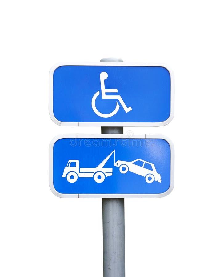 Handicapez le signe de stationnement et le signe de retrait de voiture - chemin de coupure photo stock