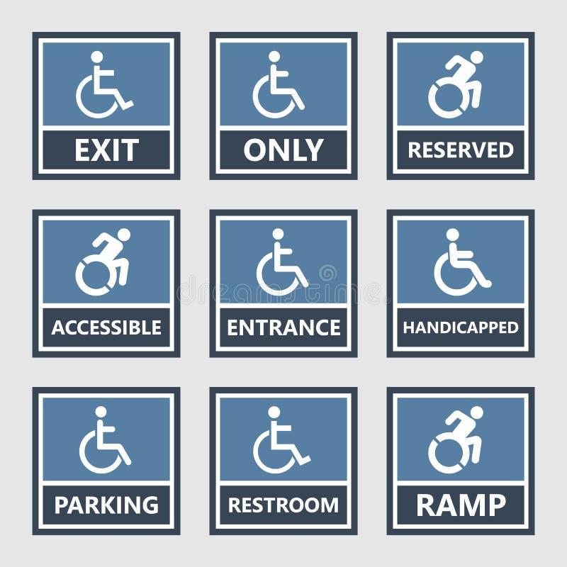 Handicapez les icônes, le stationnement et les signes de toilette, handicapés illustration libre de droits