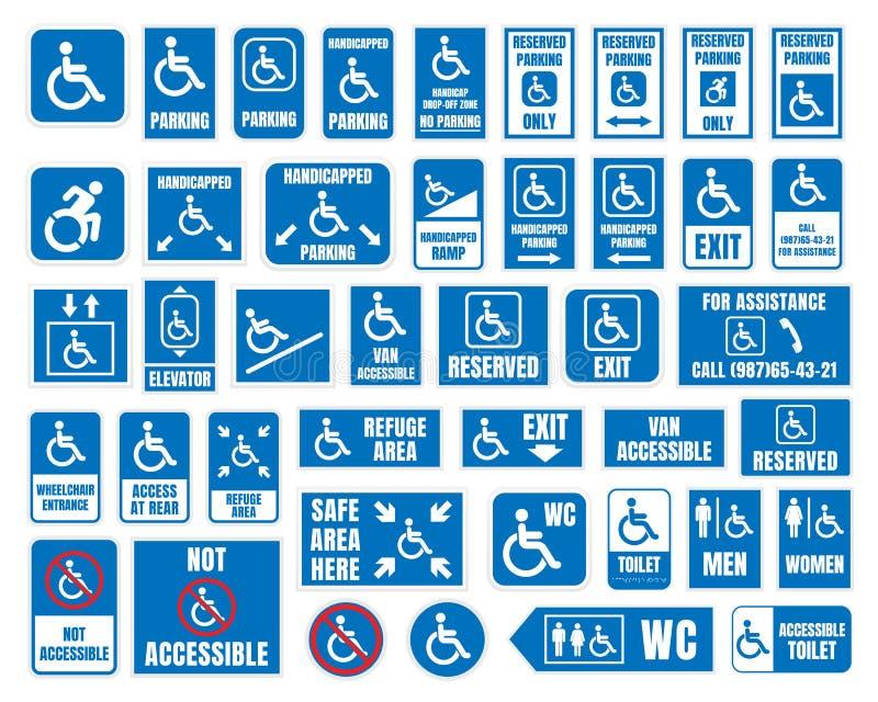 Handicapez les signes, carte de travail et icônes de stationnement, handicapés illustration libre de droits