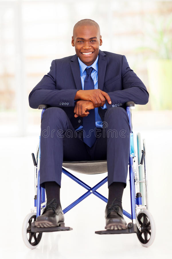 Handicapped african businessman royalty free stock photo