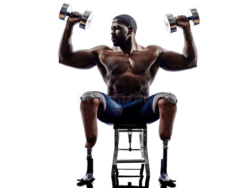 handicapped body builders building weights man with legs prosthesis silhouette stock photos