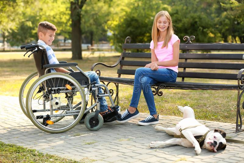 Handicapped boy with his sister and dog resting in park royalty free stock photography