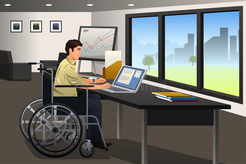Handicapped Businessman Working in Office. A vector illustration of handicapped businessman working in a modern office royalty free illustration