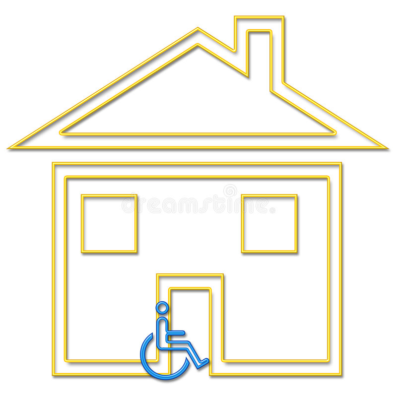 Handicapped housing. Housing suitable for the handicapped depicted in neon tube style illustration part of NEON LIFE SERIES stock illustration