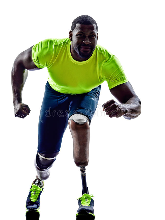 Handicapped man joggers starting line legs prosthesis silhouette royalty free stock photography