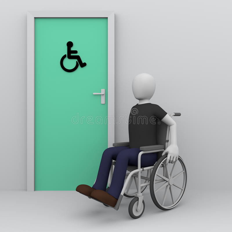 Handicapped man in wheelchair awaiting for toilet. Wheelchair man awaiting in the door of toilet for handicapped persons. Accessibility for disabled persons vector illustration