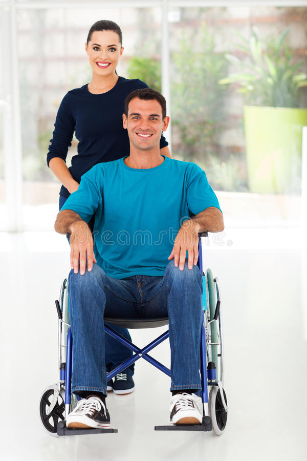 Handicapped man wife royalty free stock photography