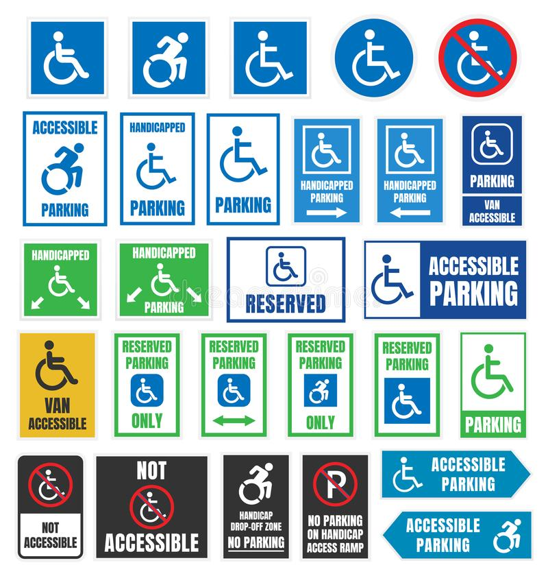 Handicapped parking signs, disabled people parking stock illustration