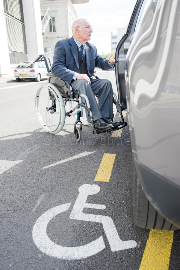A handicapped reserved parking. Parking stock images