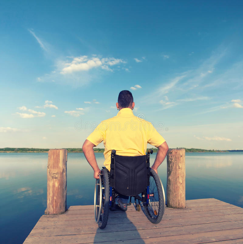 Handicapped young man stock photo