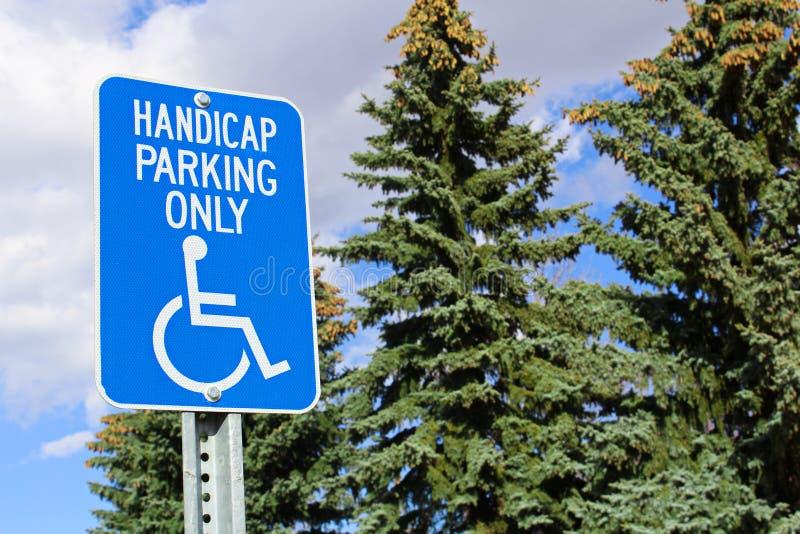 Handicappi il segno di parcheggio con gli alberi nei precedenti fotografie stock libere da diritti