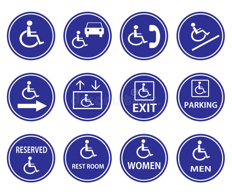 Handicaptekens met rolstoel vector illustratie