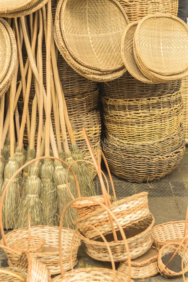 Handicraft baskets and several pieces in straw in Aracaju Brazil. Baskets and several pieces in straw at a handicraft store in Aracaju Brazil stock photos