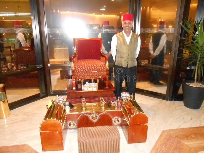 Handicraft exhibition and host in a hotel in Cairo Egypt Africa. Travel traveler tourist tourism traditional tourist object exhibition stock photography