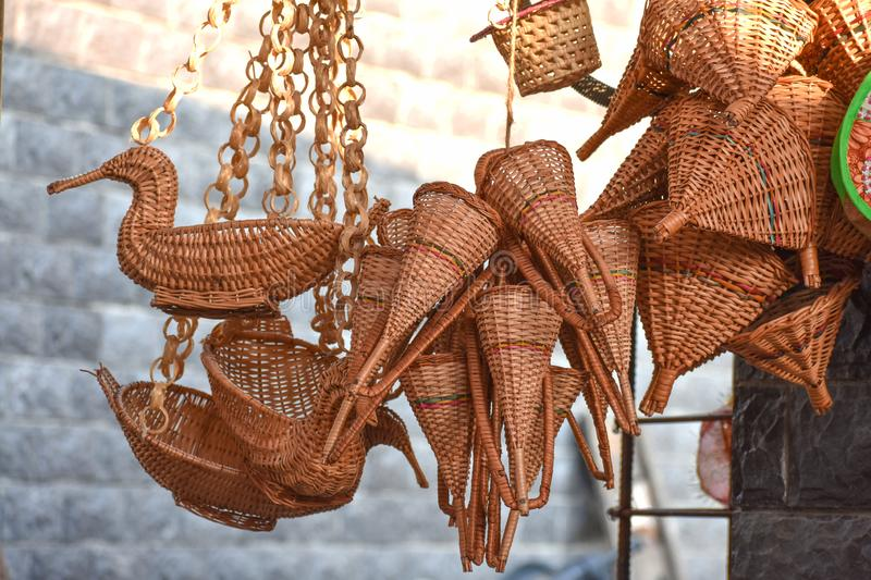 Handicraft items in an Indian market stock photography