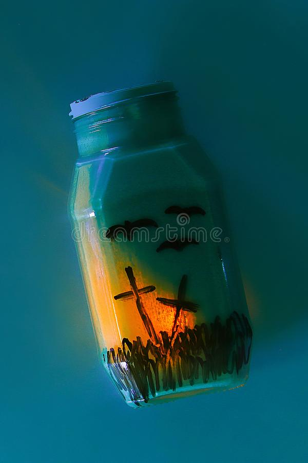 Handicraft from jar. The concept for Halloween. DIY royalty free stock images