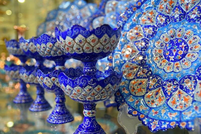 Handicraft made in Esfahan, Isfahan Grand Bazaar, Naqsh-e Jahan Square, esfahan, Iran.  stock photo