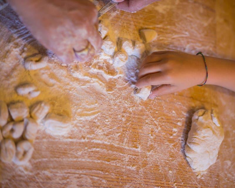 Handicraft processing for dumplings stock photo