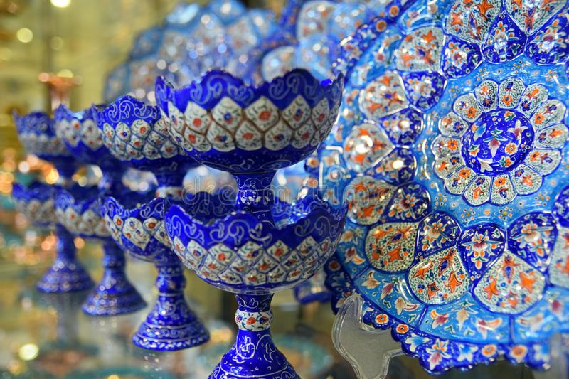 Handicraft tillverkad i Esfahan, Isfahan Grand Bazaar, Naqsh-e Jahan Square, esfahan, Iran arkivfoto