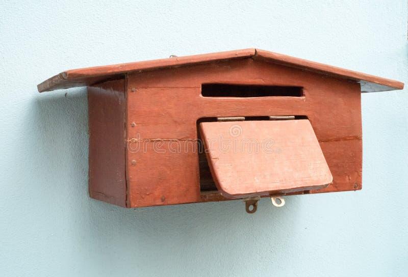 Handicraft wood mailbox stock image