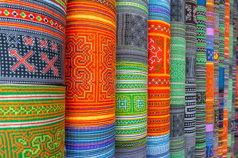 Handicrafts embroidered cloth with traditional pattern of ethnic minority Hmong in Vietnam.  royalty free stock image