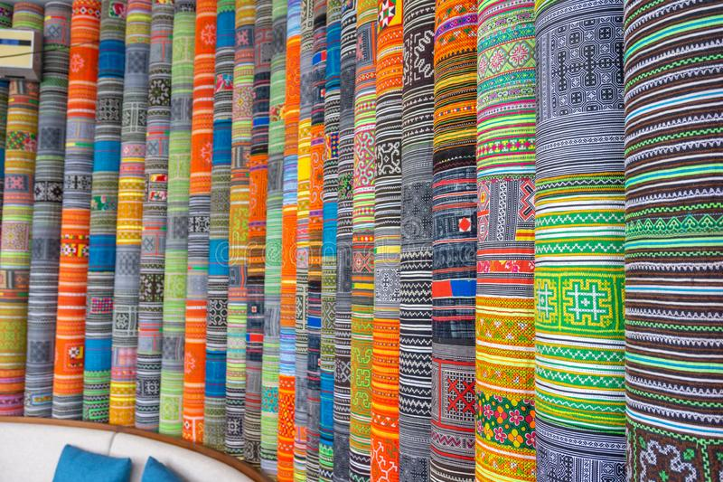 Handicrafts embroidered cloth with traditional pattern of ethnic minority Hmong in Vietnam.  stock image