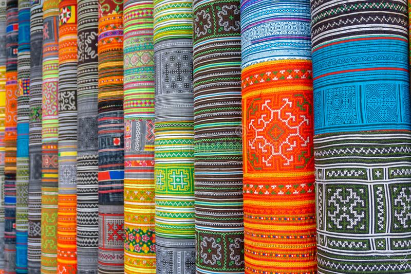Handicrafts embroidered cloth with traditional pattern of ethnic minority Hmong in Vietnam.  stock photography