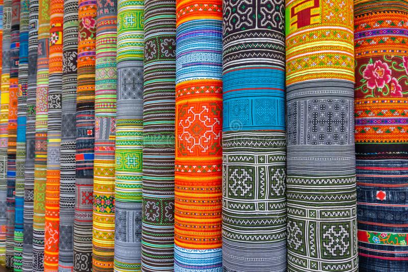 Handicrafts embroidered cloth with traditional pattern of ethnic minority Hmong in Vietnam.  stock photos