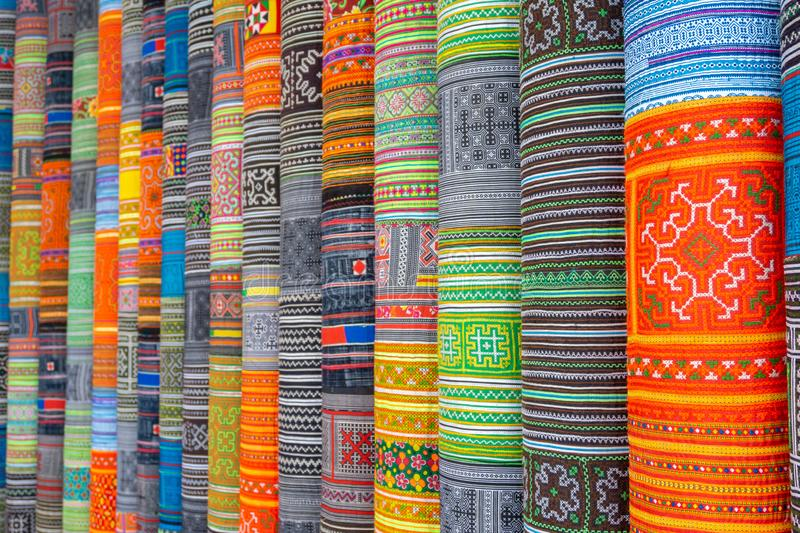 Handicrafts embroidered cloth with traditional pattern of ethnic minority Hmong in Vietnam.  royalty free stock photography