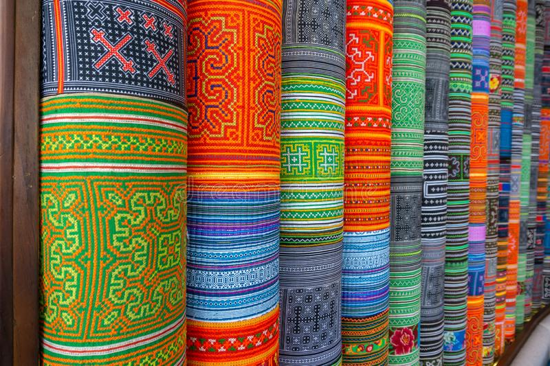 Handicrafts embroidered cloth with traditional pattern of ethnic minority Hmong in Vietnam.  stock images
