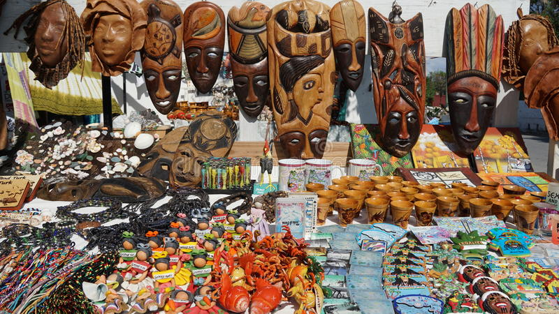Handicrafts in Grand Turk. In the Turks and Caicos Islands stock image