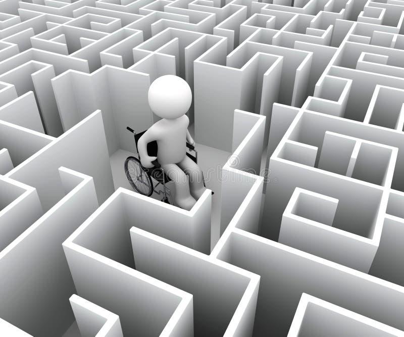 Handikap und Labyrinth lizenzfreie abbildung