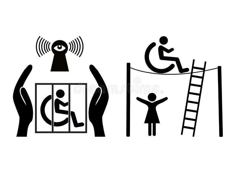 Handikapp och frihet royaltyfri illustrationer