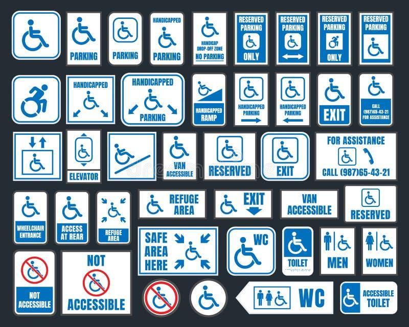 Handikapp symboler, parkering och toaletttecken, rörelsehindrat folk royaltyfri illustrationer