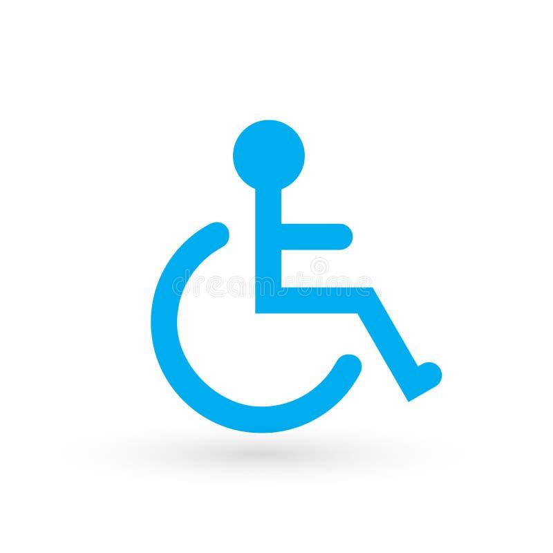 Handikappad eller för tillgänglighetparkerings- eller tillträdestecken plan blå för vektor symbol för rullstol, för apps och tryc stock illustrationer