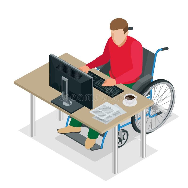 Handikappad man i rullstol i ett kontor som arbetar på en dator Plan isometrisk illustration för vektor 3d vektor illustrationer