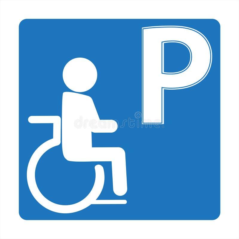 Handikappad parkering undertecknar in den fyrkantiga ramsymbolen royaltyfri illustrationer
