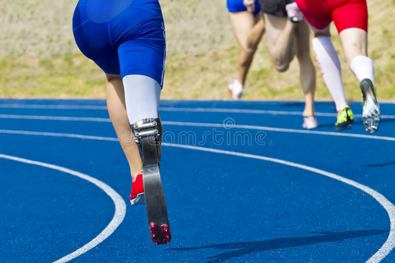 handikappad sprinter arkivfoto