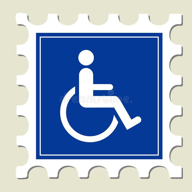 handikappad teckenstämpel royaltyfri illustrationer